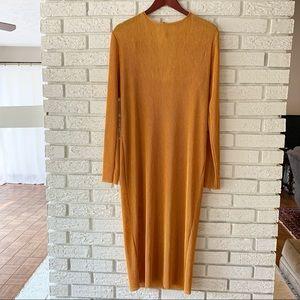 Zara Trafaluc Gauze Long Sleeve Maxi Dress Large